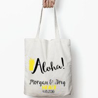 Hawaii Tote Bag // Wedding Favors, Destination Wedding Tote Bag, Aloha Tote Bag, Weekend Wedding, Bachelorette Weekend, Hangover Kit