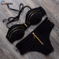 BANDEA push up bikinis set women 2017 swimsuit solid lace up halter top swimwear zipper solid bandeau bathing suit  HA649