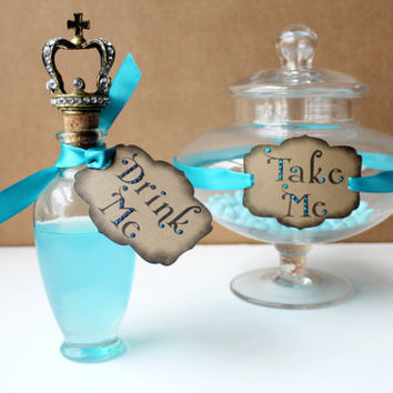 "Alice in Wonderland Wedding ""Drink Me"" Party Tags- Kraft/Turquoise- Set of 12"