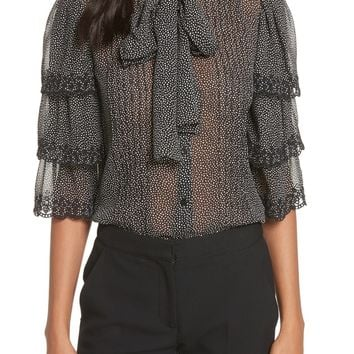 Rebecca Taylor Tie Neck Tiered Sleeve Silk Blouse | Nordstrom