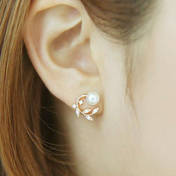 Korean Accessory 925 Silver Lovely Floral Pearls Stylish Earrings [8740027911]