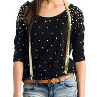 shirred-sequin-sleeve-top BLACK BROWN - GoJane.com