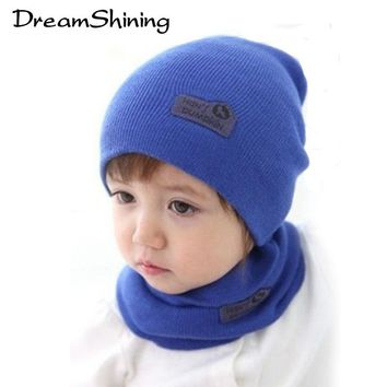 Hot Retail Children Baby Hat Hedging Cap And Scarf Suit Leather Standard Solid Color Candy-Colored Hats Newsboy Caps 6 Colors