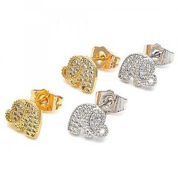 Gold Layered Stud Earring, Elephant Design, with Micro Pave, Golden Tone