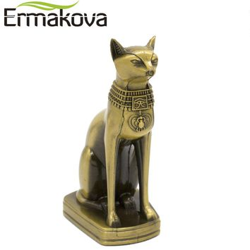 ERMAKOVA Metal Bastet Statue Egyptian Cat God Figurine Cat in Ancient Egypt Metal Sculpture Home Desk Office Decor Gift