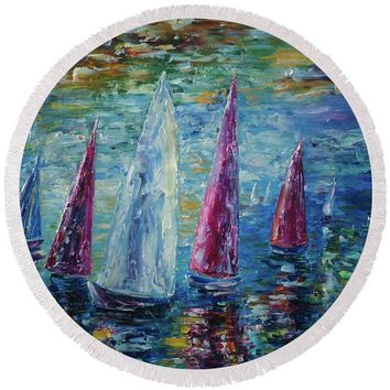 Sails To-night - Round Beach Towel