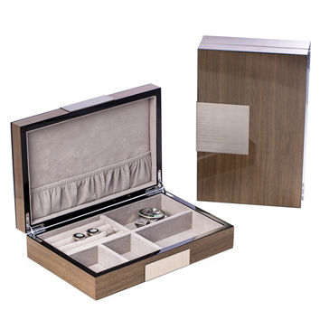 """Lacquered """"Ash"""" Wood Valet Box with Stainless Steel Accents"""