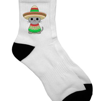 Cat with Sombrero and Poncho Adult Short Socks - by TooLoud