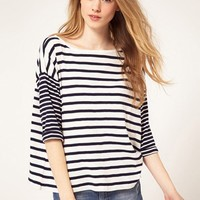 Black&White Striped Half Sleeve Cotton Blend T-Shirt