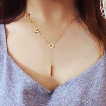 Gold Handcrafted Brushed Metal LOVE Script Necklace