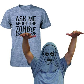 Ask Me About The Zombie Apocalypse Shirts Funny Flip Up Tees Halloween T-shirts