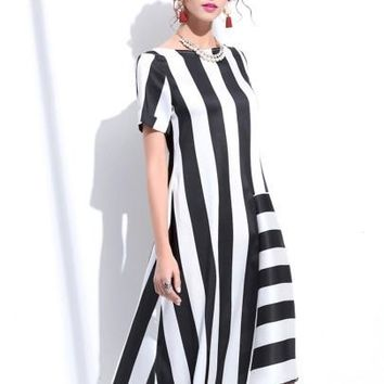 Nautical Stripe Color Block Asymmetrical Women's Maxi Dress