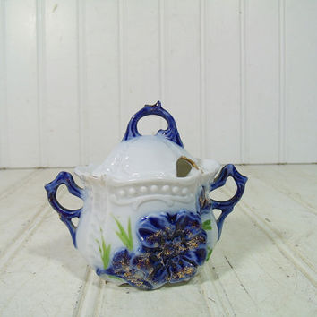 Antique Flow Blue China Individual Sugar Bowl - Vintage 1800s Small Porcelain Dish with Lid - Translucent Pottery with Blue Floral Gold Trim