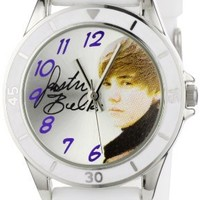 Justin Bieber Kids' JB1042  Round Case White Silicone Strap Watch