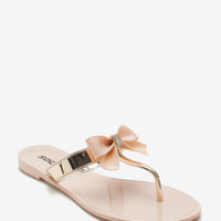 Gel Rhinestone Bow Jelly Sandal