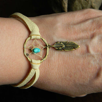 Tribal Feather Dream Catcher Bracelet with Turquoise Nugget