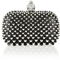 Alexander McQueen | The Skull faux pearl-embellished leather box clutch  | NET-A-PORTER.COM
