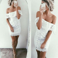 Summer Dress Off Shoulder White Lace Dress