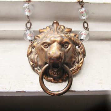 Escutcheon Statement Necklace Lion Door Knocker Necklace Hardware Jewelry Rustic Necklace DanielleRoseBean Lion Statement Necklace