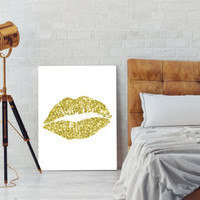 Gold Lips, Home Decor, Office Decor, Minimalist Art, Gold Art, Lips, Gold, Lips Nursery, Lips Silhouette, Gold Kiss, Kiss, INSTANT DOWNLOAD