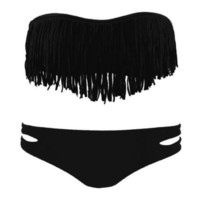 2 pcs Black Fringe Bandeau Bikini Top and Bottom
