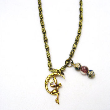 Fairy on moon necklace antique bronze chain W glow in the dark glass bead