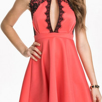 Halter Lace Collar Cut Out Skater Dress