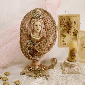 Vintage Virgin Mary rhinestones crown statue with Rosary hand embroidered mantle Shabby Mother of Jesus statue kitsch altered Pink Our Lady