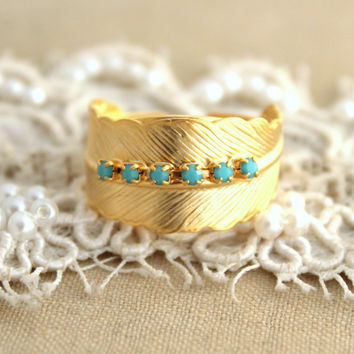 Gold Ring Feather and turquoise rhinestones -  14k Gold plated over brass adjustable ring real swarovski rhinestones.
