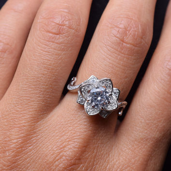 0.80 Carats Round White Cz 925 Sterling Silver Flower Wedding Band Engagement Ring