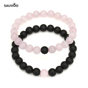 Sauvoo Pink Green Blue Black Lava Stone Crystal Beads Yin Yang Distance Bracelets Bangles with Men Women Couple Jewelry