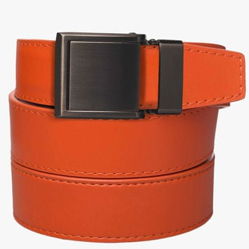 Orange Leather Belt with Square Buckle