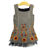 Toddler girl black and white houndstooth dress with sunflowers