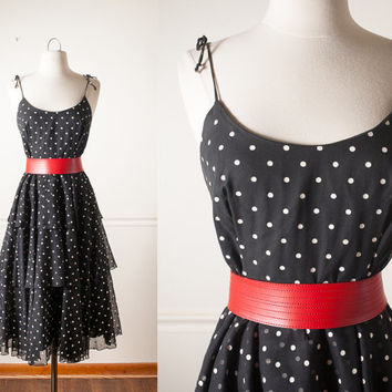 Vintage 80s Polka Dot Dress | Day Dress Party Dress 80s Dress Midi Skirt Tiered Skirt Ruffled Mid Century Rockabilly 80s does 50s Dress Mod