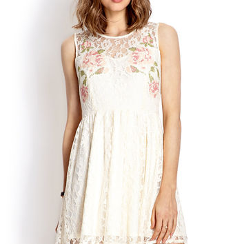 White Lace and Mesh Floral Dress