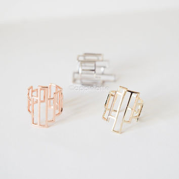 asymmetrical geometric ring, architectural structure ring, rectangle ring, minimal jewelry