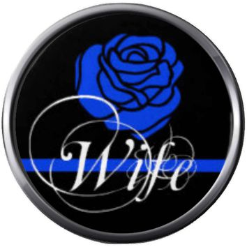 Thin Blue Line Wife With Rose Show Support For Police Sheriff Officer Cop 18MM - 20MM Snap Charm New Item
