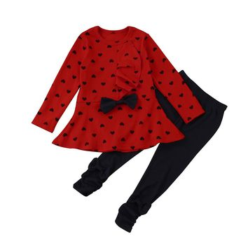 Toddler Infant Baby Girls Heart Print Clothes Bow Top T-shirt +Pants Outfits Set