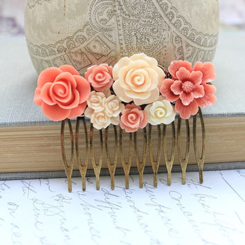 Bridal Hair Comb Peach Coral Rose Ivory Cream Rose Floral Collage Country Shabby Chic Flower Hair Accessories Brass Metal Comb