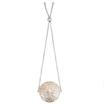 """Rhodium And Rose Gold Plated Sterling Silver Tree Of Life Bolo Bracelet, 9"""""""