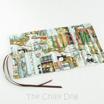 Roll-Up Crochet Hook Case - Funny - Cats in the sewing room