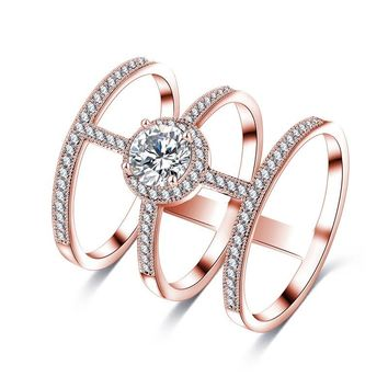 H:HYDE Newest Design Big AAA Round CZ Stone Micro Inlayed Tri-band Unique Cross Rings For Women Party Jewelry