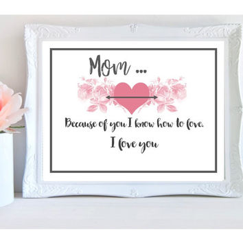 mom print, instant download, mom gift, mother birthday gift, printable, love quote art print, mum gifts, bedroom wall art, office home decor