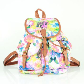 Butterfly Printed Cute Large College Backpacks for School Bag Canvas Daypack Travel Bag