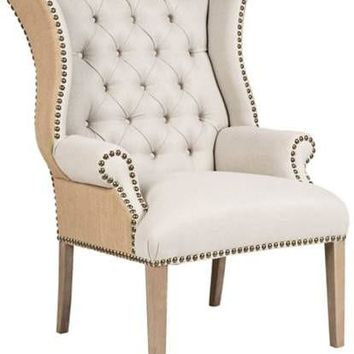 Thomas Burlap Back Tufted Armchair