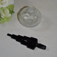 Vintage Perfume Bottle Black Glass Art Deco Stopper with Clear Glass Perfume Bottle
