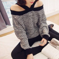 Color Block Long Sleeves Cut Out Acrylic Casual Style Women's Sweater