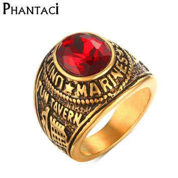 Vintage Style Gold Color Red Crystal Titanium Stainless Steel Man Ring Marines Punk Rock Rings For Men Boy Jewelry