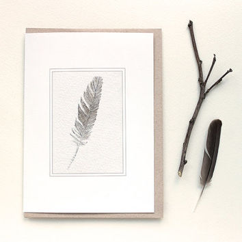 Sparrow Feather Note Card  Feather Card by trowelandpaintbrush