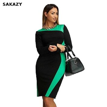 Sakazy Plus Size L-6XL Bodycon Elastic Women Elegant Dress Patchwork Modest Fat Mm OL Casual Party Dresses Vestidos M119
